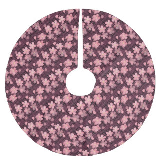 Stylish Blossom Pink Light Style Pattern Brushed Polyester Tree Skirt