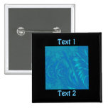 Stylish Blue Abstract Pattern. Fractal Art. Pinback Button