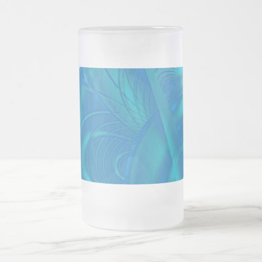 Stylish Blue Abstract Pattern. Fractal Art. Frosted Glass Beer Mug