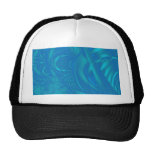 Stylish Blue Abstract Pattern. Fractal Art. Mesh Hats