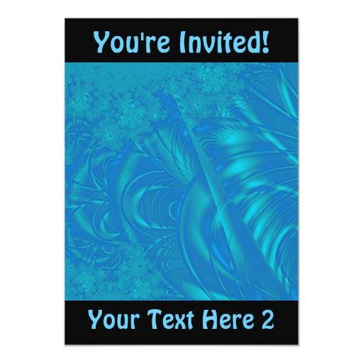 "Stylish Blue Abstract Pattern. Fractal Art. 5"" X 7"" Invitation Card"