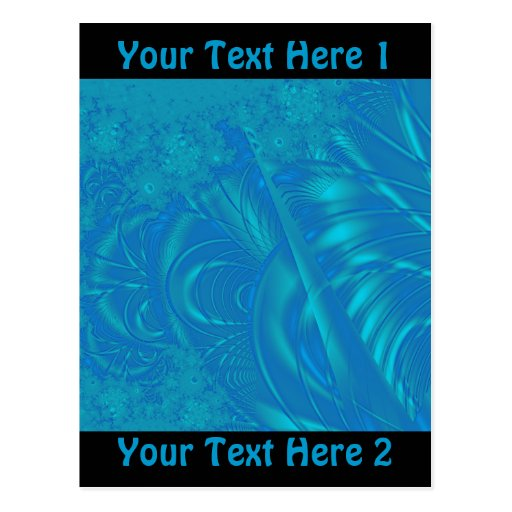 Stylish Blue Abstract Pattern. Fractal Art. Post Cards