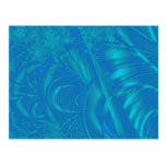 Stylish Blue Abstract Pattern. Fractal Art. Post Card