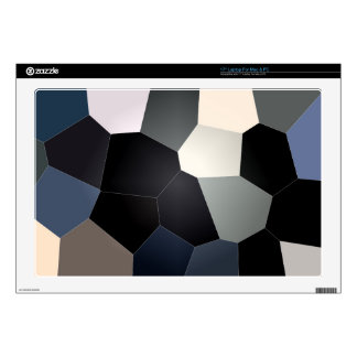 "Stylish blue and black stained glass pattern decals for 17"" laptops"