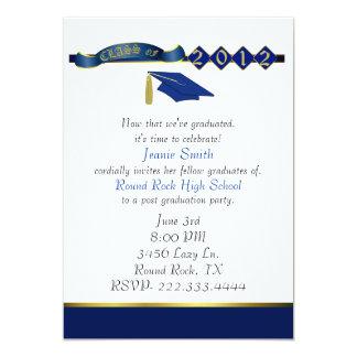 Stylish Blue and Gold Graduation Party Invitation