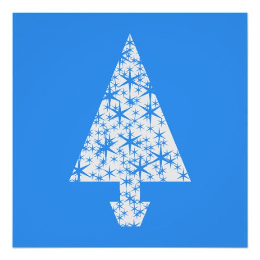 Stylish Blue and White Christmas Tree Design. Poster