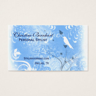 Stylish Blue and White Flourish Business Card