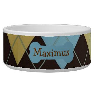 Stylish Blue Argyle Dog Food Bowl