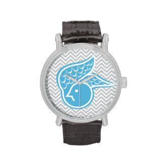 Stylish Blue Bird Gray Chevron Stripes Wristwatch