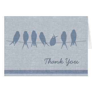 Stylish Blue Birds on a Wire Thank You Card