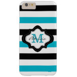 Stylish Blue Black White Stripes Custom Monogram iPhone 6 Plus Case