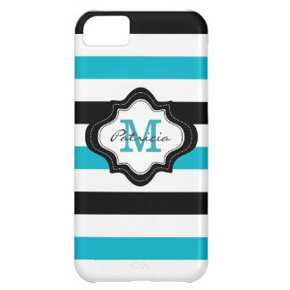Stylish Blue Black White Stripes Custom Monogram iPhone 5C Cases