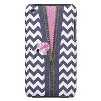 Stylish Blue Chevron With Zipper & Pink Ladybug Case-Mate iPod Touch Case
