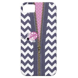 Stylish Blue Chevron With Zipper & Pink Ladybug iPhone SE/5/5s Case