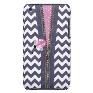Stylish Blue Chevron With Zipper & Pink Ladybug iPod Touch Case