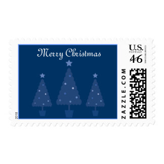 Stylish Blue Christmas Trees Postage Stamps