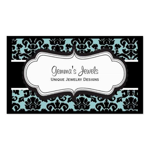 Stylish Blue Damask Business Cards