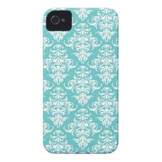 Stylish blue damask vintage trendy pattern elegant iPhone 4 case