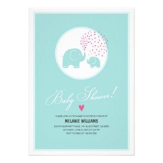 Stylish Blue Elephants Baby Shower Invitation