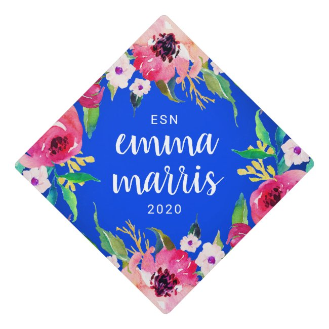 Stylish Blue Floral Custom Name and Class Year Graduation Cap Topper