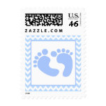 Stylish Blue Foot Prints Baby Shower Stamp