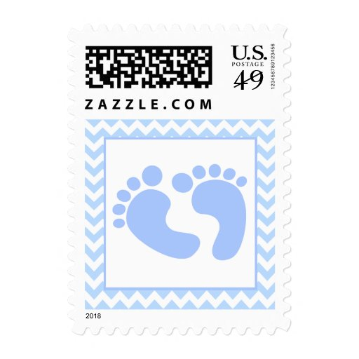 stylish blue foot prints baby shower stamp zazzle