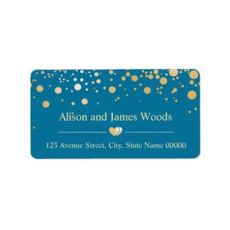 Stylish Blue Gold Confetti Dots Wedding Love Heart Label