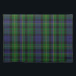 "Stylish Blue &amp; Green MacBride Tartan Plaid Placemat<br><div class=""desc"">Handsome traditional blue and green MacBride clan tartan plaid pattern.  Customize to add text to this stylish place mat.  Matching home decor available.  Makes a great gift idea for anyone.</div>"
