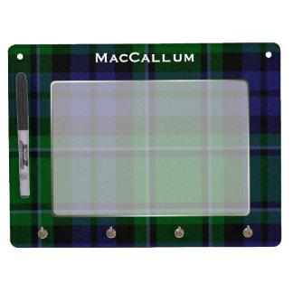 Stylish Blue & Green MacCallum Tartan Plaid Custom Dry Erase Board With Keychain Holder