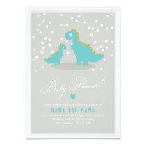 Stylish Blue Grey Dinosaur Baby Shower Invitation