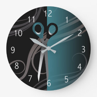 stylish blue hair salon clock