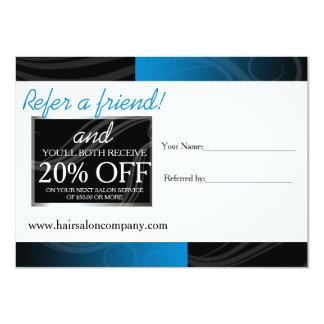 stylish blue hair salon referral card
