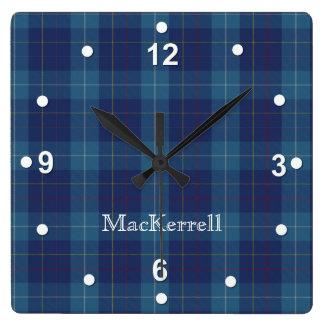 Stylish Blue MacKerrell Tartan Plaid Clock
