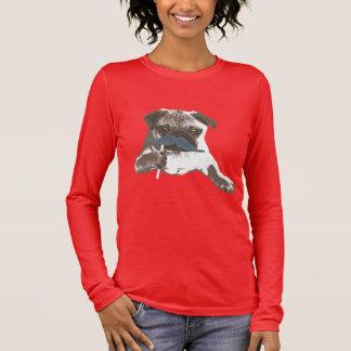 Stylish Blue Mustache Pug T-Shirt