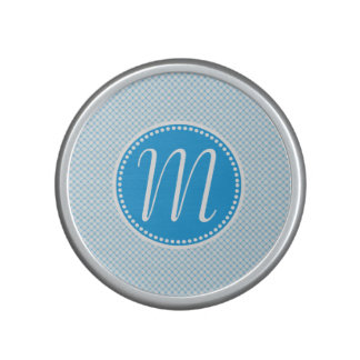 Stylish Blue Pastel Lattice Monogram Bluetooth Speaker