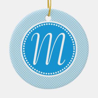 Stylish Blue Pastel Polka Dot Monogram Ceramic Ornament