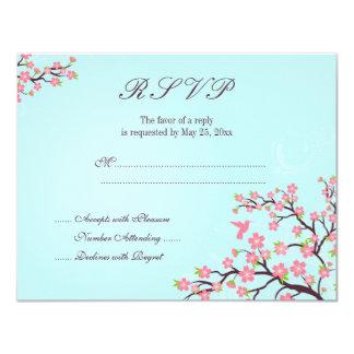 Stylish blue pink cherry blossom wedding RSVP card