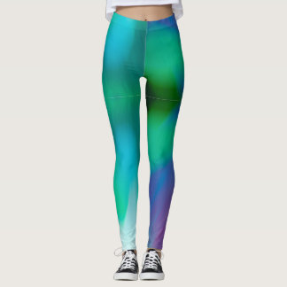 Stylish blue, purple, teal & green abstract photo leggings