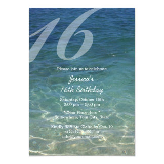 Stylish Blue Sea Water Beach Sweet 16 Card