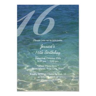 Stylish Blue Sea Water Beach Sweet 16 5x7 Paper Invitation Card