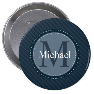 Stylish Blue Stripes Custom Circle Monogram Button