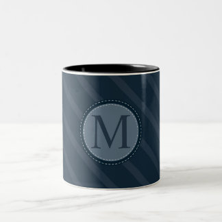 Stylish Blue Stripes Custom Circle Monogram Two-Tone Coffee Mug