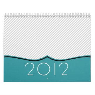 Stylish Blue & Stripes Design 2012 Wall Calendar