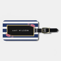 Stylish Blue Stripes Watercolor Floral Luggage Tag