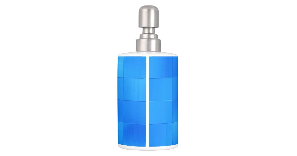 Stylish Blue Subway Tile Bathroom Accessory Soap Dispenser And Toothbrush Holder Zazzle