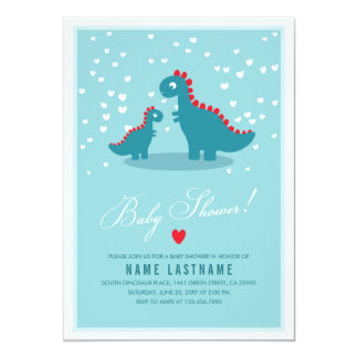 Stylish Blue Teal Dinosaur Baby Shower Invitation