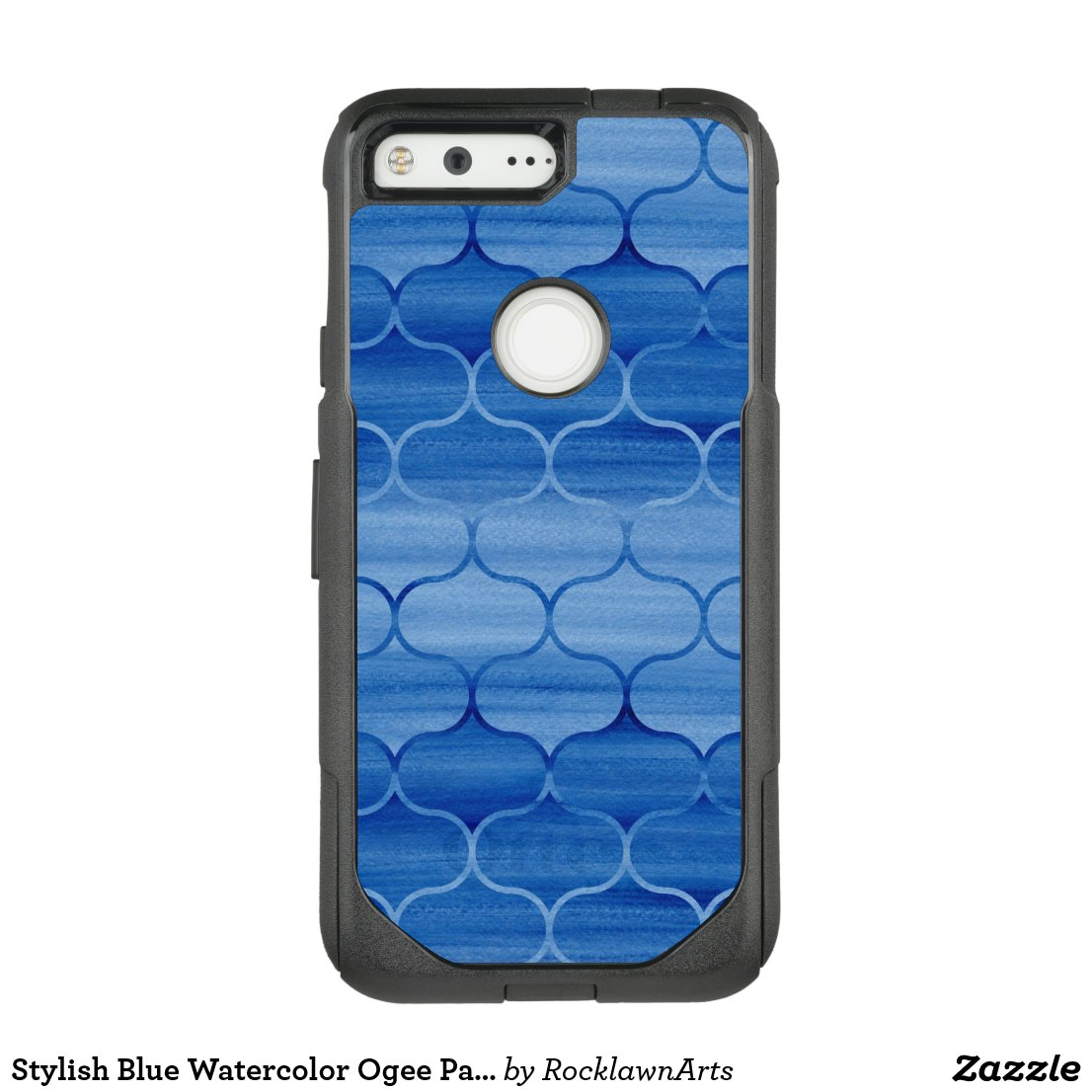 Stylish Blue Watercolor Ogee Pattern OtterBox Commuter Google Pixel Case