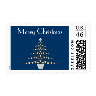 Stylish Blue White Christmas Tree Stamps