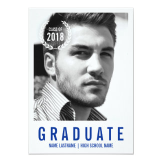 Stylish Blue White Modern Photo Graduate Invite
