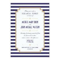 Stylish Blue White Rehearsal Dinner Invitation